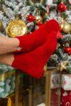 В'язані шкарпетки червоні